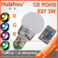 Big Discount [Huizhuo Lighting]1 Set High Power 3W 180lm AC110-240V  RGB LED Bulb Light With IR Controller 16 Colors Changable