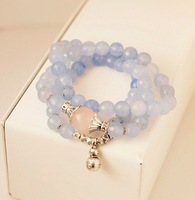 2014 FREE SHIPPING FASHION WOMEN JEWELRY,fine light blue natural stone multi layer peanut lucky spring bracelet(MIN.ORDER$15)