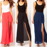 2014 New Summer Sexy Open Side High Split Womens Skirt Beach Boho Female 3 color popular high quality skirt#NQ034