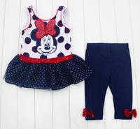 Girls Minnie Autumn -Summer Clothing Set Kids Dress & Legging New 2014 Wholesale Children Casual Fashion Clothes 9-7322