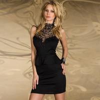 Wholesale/Retail Women's Embroidery Turtleneck Peplum Ruffle One-Piece Dress Black/White MG-117