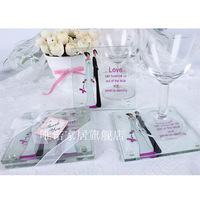 Romantic lovers glass coasters fashion wedding gift married heat pad