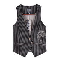 2014 Autumn fashion personality casual denim vest embroidered stripes women