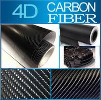 """60x152CM 24""""x60"""" Black 4D Carbon Fiber Moblie Car Carbon Fiber Cover Sticker Car Carbon Fiber Vinyl Wrap Foil Free Shipping"""