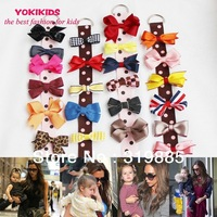 5 pcs/lot 2014 NEW FASHION DIY hair Accessory clips Baby girl Ribbon Hair Bows Clip Ribbon Lined Alligator 23 colors