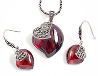 Tai Jewelry Sets Genuine Thai 925 Sterling Silver Jewelry Sets With Red Corundum YH45200