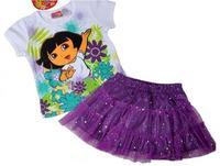 Summer 2014 girl clothing explorer dora t shirts +short skirt 2 pcs clothing set dora costumes for girls free shipping TZ-DL88