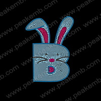 Free Shipping 30Pc/S  Easter Bunny Iron On Rhinestone Transfer Crystal Stone Glitter Applique For Hoodies
