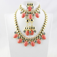 Hot 2014 New Statement Ladies Party Jewelry Sets gold plated Candy Color Rhinestone Necklace Earrings Sets Free shipping