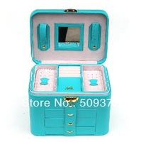 Fashion Princess Jewelry Box Cosmetic Accessories Boxes Storage Necklace Ring Box Gift Birthday Case with 3 drawers