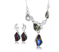 Diversified Alloy Japan -Korea Sweet Style 2 Pieces Jewelry Sets Color Green Made With Swarovski Element Crystal
