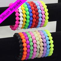 Luminous silicone round ball bracelets Charm chain wristband Women's fashion jewelry Party Gift 202*12MM 50pcs/lot