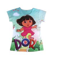 wholesales 2014 new style summer kids T-shirt  full printing happy dora girls tee shirts blue girls t-shirts(2T-6T) 5pcs/lot