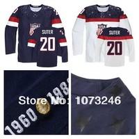 Men's 2014 Sochi Ryan Suter USA Jersey #20 American Team Personalized Make Customized Custom Blue White Polyester Hockey Jerseys