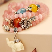 2014 FREE SHIPPING FASHION WOMEN JEWELRY,fine light pink opal multilayer elephane lucky spring bracelet(MIN.ORDER$15)