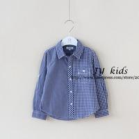 Boutique boys shirts blue plaid long sleeve top children clothing boys clothing