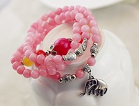 2014 FREE SHIPPING FASHION WOMEN JEWELRY,fine rose natural stone multilayer elephane lucky spring bracelet(MIN.ORDER$15)