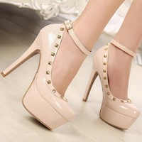 New Hot Ankle Strapy Apricot Bottom Rivet Round Toe High Heel Shoes,Black&Apricot  Size 34 In Stock Stiletto Pumps X399