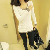 2014 Spring women's fashion brief medium-long modal o-neck basic T-shirt long-sleeve slim shirt