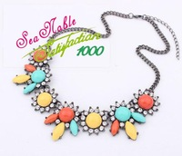 European Style Fashion Personality Colorful  Gold Flower Necklaces &Pendants  S21