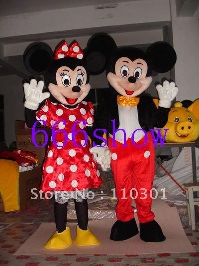 Mickey e Minnie Mouse adulto tamanho do traje da mascote equipamento extravagante grátis frete(China (Mainland))