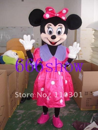 Rosa Minnie Mouse adulto tamanho do traje da mascote equipamento extravagante grátis frete(China (Mainland))
