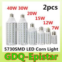 Free shipping 2pcs/lot 5730 SMD LED Lamp E27 B22 E14 7W/12W /15W/20W/25W / 30W / 40W 110V/ 220V  LED corn Bulb Warm/Cool White