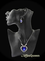 Exquisite Classical Titanic Ocean Heart Necklace Earrings Fashion Royal Blue Crystal Jewelry Set Bridal Party Accessories DJS126