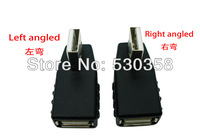 Free Shipping 2pcs/lot USB 2.0  Male to  Female Left Right Angle Adapter