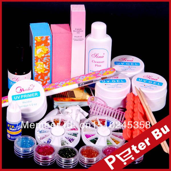 Professional UV GEL NAIL KIT + 6 Powders Glues FILE BLOCKS Primer Tips kits Sets 268set(China (Mainland))