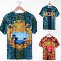 2013 brand Slim fit men's crew neck fashion leopard flower medusa dragon shirt fashion crown t-shirt star tee cotton casual tag