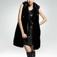 BG28497 Natural Mink Fur Vest with Hood Wholesale Retail Ladies Nautal Fur Vest