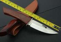 FREE SHIPPING NEW ROCKSTEAD Wood Hadnle Mirror light Blade Hunting knife VTH51