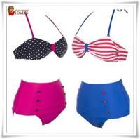 RETRO Swimsuits Suits Swimwear Vintage Bandeau HIGH WAISTED Bikini Set S M L XL Available