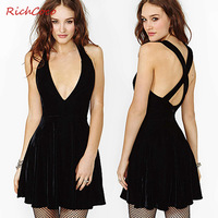 New spring sexy deep V-neck cross suspenders racerback tank dress one-piece dress free shipping