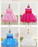Retail Wedding Dress Princess Ball Gown Satin with Headband Baby Girl Lace Tutus for Summer 2014 New Kids Birthday Party Clothes