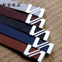 Business Leisure High-grade Men And Women Unisex Belts Smooth Leather Ceinture Buckle Belt L025
