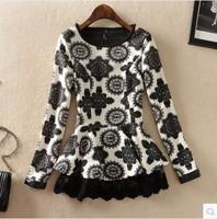 Free Shipping 2014 Spring New Blouses Big Star Temperament Korean Slim Thin Dress