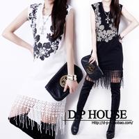 European style women dress new 2014 spring sleeveless O neck cotton party dress slim Baroque vintage female evening dress
