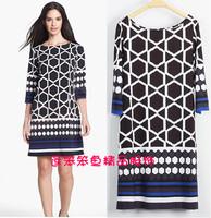 Luxurious Brands Designer Women's Geometric Printed 3/4 sleeve Stretch Jersey Silk  Plus Size Dress XXL Casual Dress
