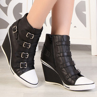 Ash high-top shoes 2014 autumn genuine leather wedges hasp rivet female shoes