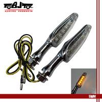 BJ-SL-025 one pair 12 V Universal Clear Lens Chrome Metal Housing yellow Led Motorcycle  Turn Signal Lights flashers lighting