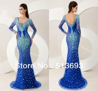 High Quality Girls Red Long Sleeve Blue Evening Women New Arrival Plus Size Long Prom Dresses 2014 with Crystals