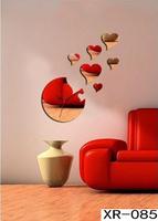 Home Decoration DIY 3D Novelty Mirror Clock Heart Deisgn Bedroom Clock Wall Sticker Mirror Free Shipping xr085