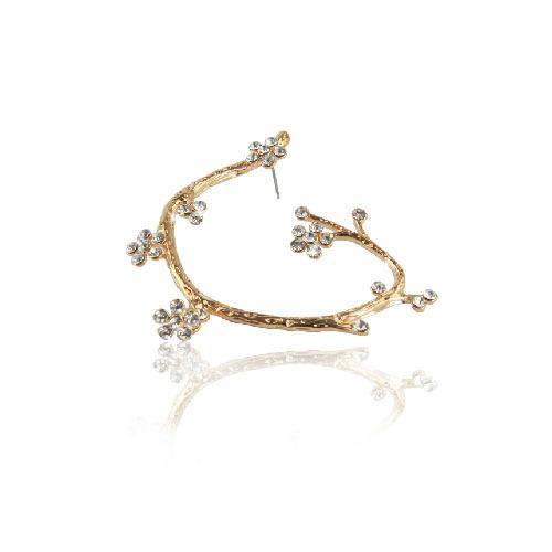 2014 punk rock fashion women's ear cuffs gold plated crystal wintersweet flower cuff earrings earcuff(China (Mainland))