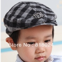 1PC High Quality 2014 Child 100% Cotton hat baseball cap baby berets caps popular plaid peaked sun hat Boys cap Free Shipping