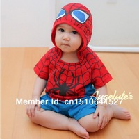 Cool baby spider man rompers baby boy girl summer one-piece rompers cute children's clothing short sleeve hooded