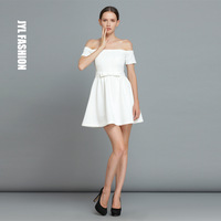 JYL FASHION Brand design pure white elegant boat neck off shoulders short sleeve celebrity dress for women,cute bow prom dresses