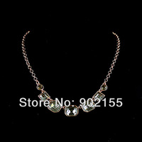 New arrival designer imitation crystal 18K platinum alloy jewelry fashion statement necklace