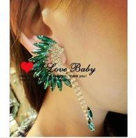 C031 peacock colorful gems big earrings